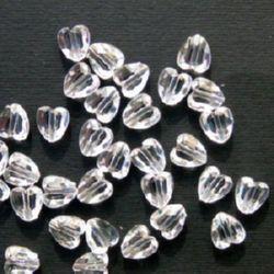 Χάντρα απομίμηση κρύσταλλο καρδιά 10x8.5x5mm Τρύπα 1mm Διαφανές - 50 γραμμάρια ~ 220 τεμάχια