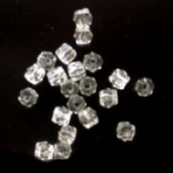 Bead crystal pebble 6x6 mm hole 1 mm transparent -50 grams ~ 470 pieces