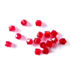 Bead crystal pebble 6x6 mm hole 1 mm red -50 grams ~ 470 pieces