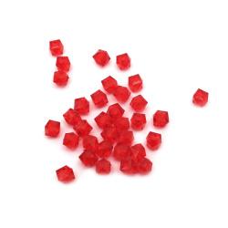 Χάντρα απομίμηση κρύσταλλο 6x6 mm τρύπα 1 mm κόκκινο -50 γραμμάρια ~ 470 τεμάχια
