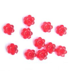 Transparent Plastic Beads Round Crystal Flower 10x5mm Hole 1mm Red -50g ~ 165pcs