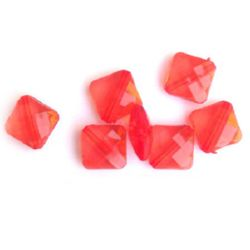 Margele forma  pătrat cristal 10 mm roșu -50 grame
