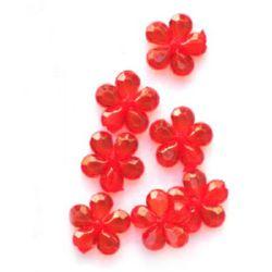 Χάντρα απομίμηση κρύσταλλο λουλούδι 14x4mm τρύπα 1mm κόκκινο -50 τεμάχια ~ 110 τεμάχια