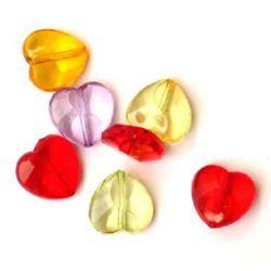 Mărgele forma inima 17mm Transparenta MIX -50g ~ 36buc