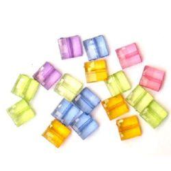 margele forma placă de cristal  10x10x5 mm MIX -50 grame