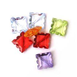 Margele forma patrat de cristal dințate 7x17 mm MIX -50 grame