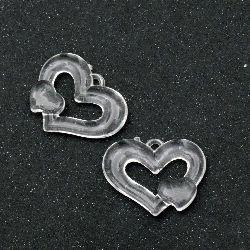 Κρεμαστό απομίμηση κρύσταλλο καρδιά 34x26 mm διαφανές -50 γραμμάρια