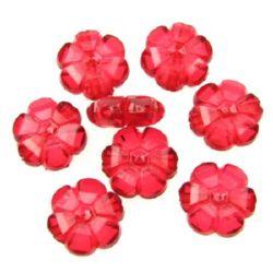Мънисто кристал цвете 10x4.5 мм червено -50 грама ~ 165 броя