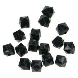 Χάντρα απομίμηση κρύσταλλο 8x8 mm τρύπα 1 mm μαύρο -50 γραμμάρια ~ 170 τεμάχια