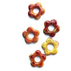 Plastic gold thread flower bead 20mm оrange - 20 grams