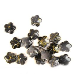 Plastic gold thread flower bead 14 mm gray - 20 grams