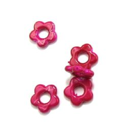 Plastic gold thread flower bead 20 mm deep pink - 20 grams