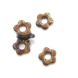 Plastic gold thread flower bead 20 mm brown - 20 grams