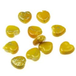 Plastic gold thread  hearts bead 9 mm yellow - 20 grams