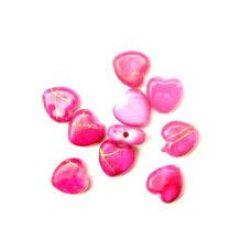 Мънисто златна нишка сърца 9 мм розово -20 грама