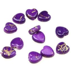 Plastic gold thread hearts bead 9 mm purple - 20 grams