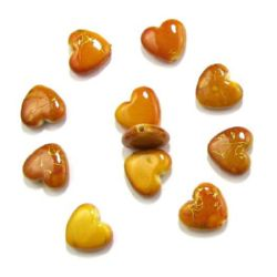 Plastic gold thread hearts bead 14 mm orange - 20 grams