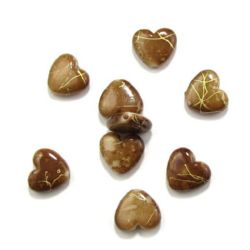 Plastic gold thread hearts bead 14 mm brown - 20 grams