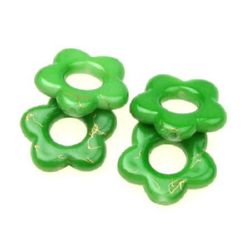 Plastic gold thread flower bead 20 mm green - 20 grams