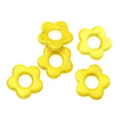 Plastic gold thread flower bead 20 mm yellow - 20 grams