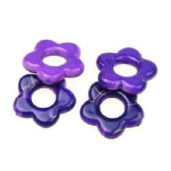 Plastic gold thread flower bead 20 mm dark purple - 20 grams