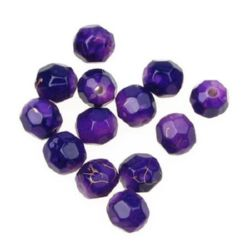 Plastic gold thread ball bead 8 mm purple - 20 grams