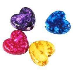 Сърце 15x16.5x6 мм дупка 3 мм рисувано цветно -50 грама