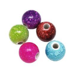 Мънисто имитация камък топче 20 мм рисувано микс -50 грама