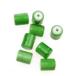 Plastic gold thread cylinder bead 10 x 8 mm 10x8 mm green - 20 grams