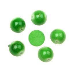 Plastic gold thread bead hemisphere 10 mm green-brown - 20 grams