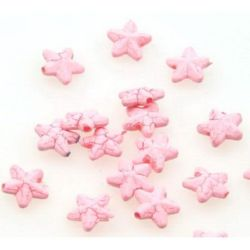 Acrylic crackle star  bead 11 mm pink - 50 grams