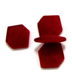 Βελούδινη χάντρα εξάγωνο 19 mm κόκκινο -50 γραμμάρια