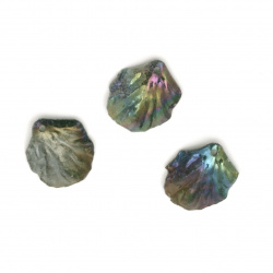 Acrylic pendant cracked leaf 20x17x5 mm hole 1.5 mm color green dark rainbow - 10 pieces