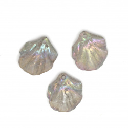 Acrylic pendant cracked leaf 20x17x5 mm hole 1.5 mm color gray rainbow - 10 pieces