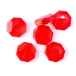 Χάντρα απομίμηση κρύσταλλο πολύγωνο 20x8 mm κόκκινο -50 γραμμάρια