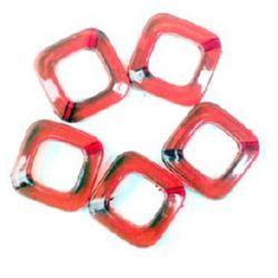 Χάντρα απομίμηση κρύσταλλο τετράγωνο 22 mm κόκκινο -50 γραμμάρια