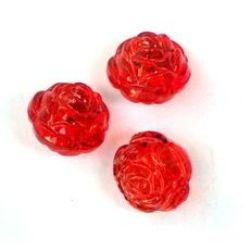 Мънисто кристал топче роза 12x12 мм дупка 2 мм червено -50 грама ~ 65 броя