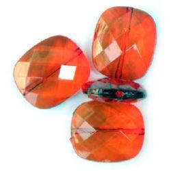 Χάντρα απομίμηση κρύσταλλο ορθογώνιο 30x25 mm πολύχρωμο κόκκινο -50 γραμμάρια