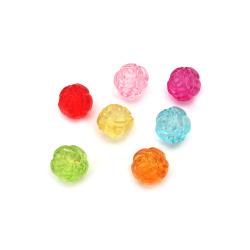 Мънисто кристал топче роза 12x10 мм дупка 2 мм микс -50 грама ~ 70 броя