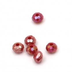 Мънисто плътно абакус 8x6 мм дупка 2 мм цвят червен дъга -50 грама ± 260 броя