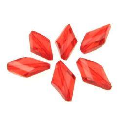 Χάντρα απομίμηση κρύσταλλο ρόμβος 20x11x5 mm τρύπα 1 mm κόκκινο -50 γραμμάρια