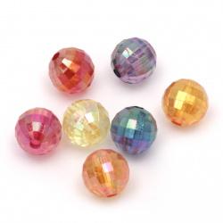 Мънисто кристал топче 10 мм дупка 2 мм фасетирано прозрачно дъга МИКС -50 грама ~90 броя