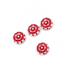 Two-color flower bead  12x5 mm hole 1 mm white and red - 50 grams ~ 130 pieces