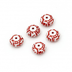 Two-color washer bead  12.5x7 mm hole 1 mm white and red - 50 grams ~ 70 pieces