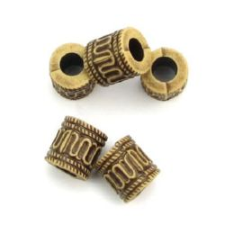 Antique acrylic cylinder beads 12x10.5 mm hole 6 mm brown - 50 grams ~ 49 pieces