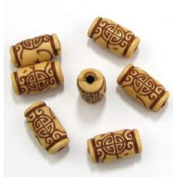 Antique acrylic cylinder beads 25x13x4 mm brown - 50 grams