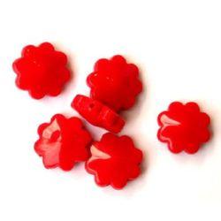 Χάντρα πλακέ λουλούδι 19 mm κόκκινο -50 γραμμάρια