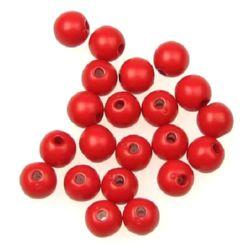 Мънисто плътно топче 6 мм дупка 1.5 мм червено -50 грама ~ 440 броя