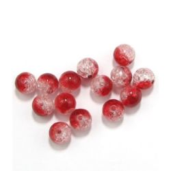 Crackle, Round, White Red, 12mm, 2.4mm hole, 50 grams