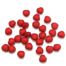 Мънисто плътно сърце матирано 10x6 мм дупка 1.5 мм червено -50 грама ~ 130 броя